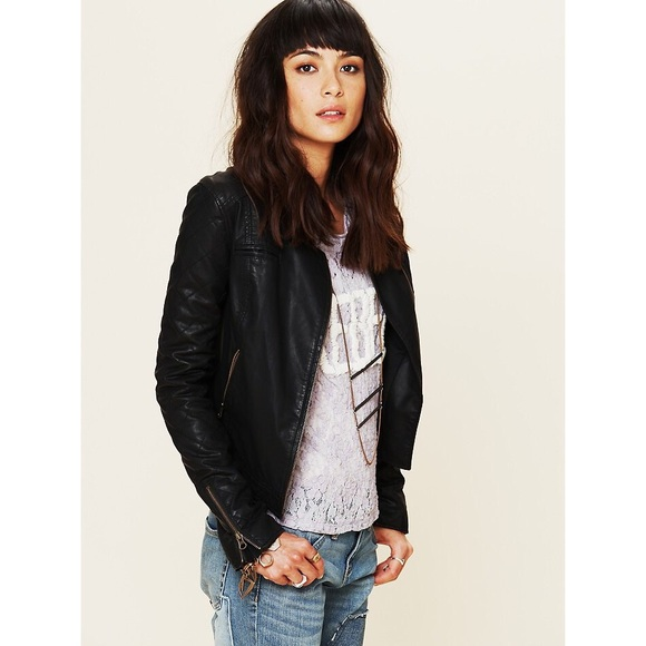 Free People Jackets Coats Quilted Sleeve Vegan Leather Jacket